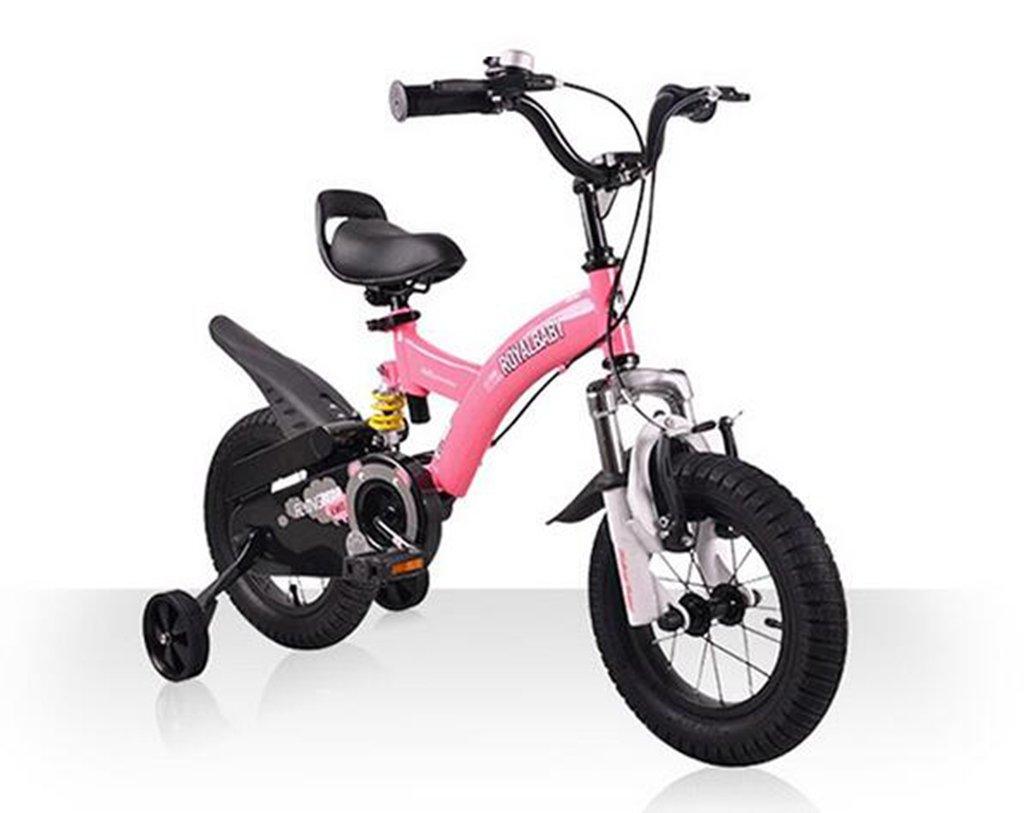 Bicicleta de los niños, choque doble 12/14/16/18 pulgada 3-6 años Muchachos y muchachas Cochecito de la bicicleta ( Color : Pink , Tamaño : 12 inch )
