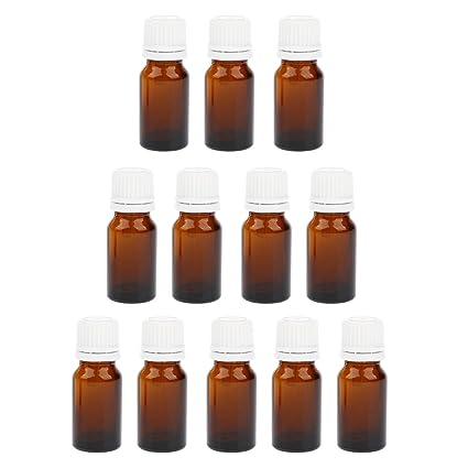 Sharplace 12x Botellas de vidrio para Guardar Aceite Perfume con Gotero Belleza Maquillaje - Ámbar 10ml