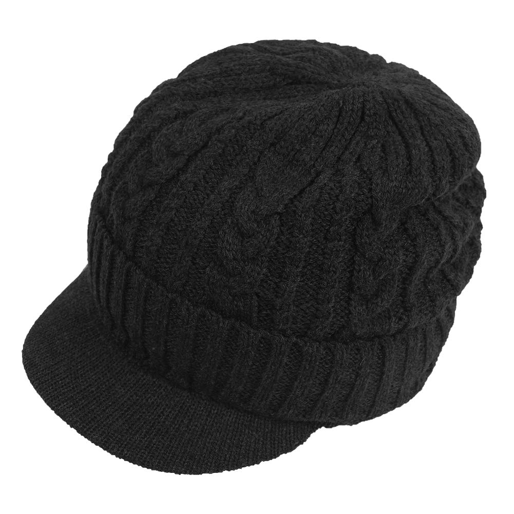 b6a69d8bcafb2 Original One Men Sports Winter Cable Knit Visor Brim Beanie Hat with Bill  Fleece Lined Baseball Cap (Black) at Amazon Men s Clothing store