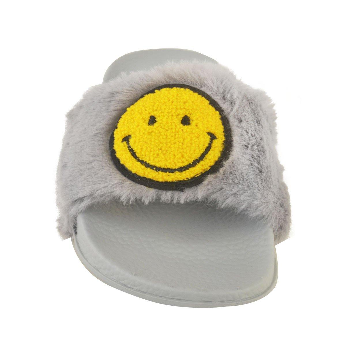 Donna Emoji Smiley Faccia Morbidi Pelliccia Finta Passanti Sandali Scarpe Gotico Taglia - Nero Pelliccia Finta / Faccia Sorridente Faccia, 38