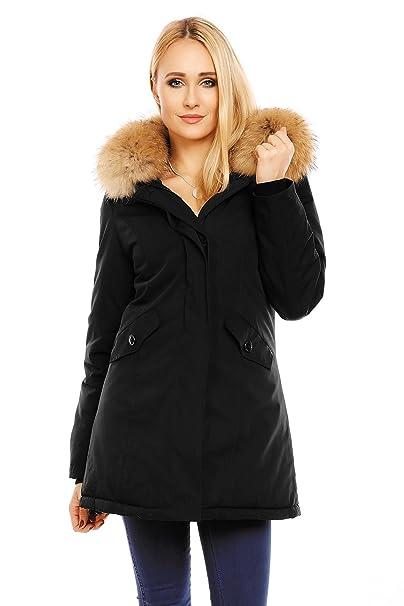 ein paar Tage entfernt großer Verkauf günstig Husaria Damen XXL Echtfell Winterjacke mit Kapuze Mantel Rot Grau Schwarz  Dunkelblau Parka Jacke Fell Pelz 6015
