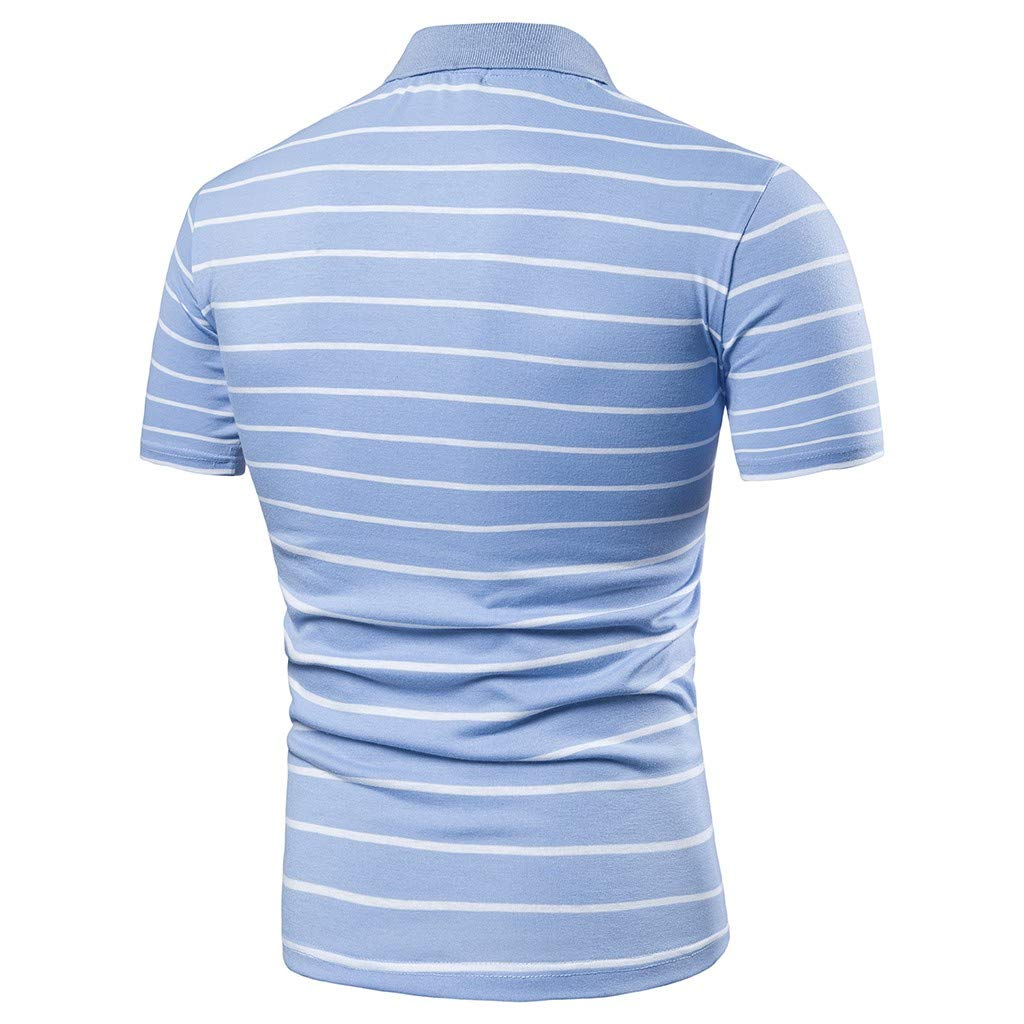 Allywit-Mens Striped Casual Slim Fit Shirts Short Sleeve Stand Collar Shirt Polo Blouse