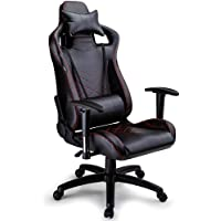 Overdrive Performance Series Gaming Chair with Headrest and Lumbar Cushions, Black with Red Stitching