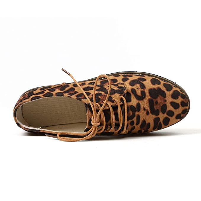 Amazon.com: Dacawin Shoes!Women Leopard Booties,Ladies Round Toe Ankle Flat Suede Casual Lace Up Fashion Single Shoe: Arts, Crafts & Sewing