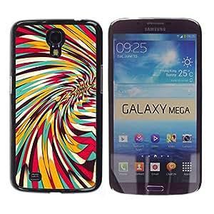 Paccase / SLIM PC / Aliminium Casa Carcasa Funda Case Cover para - Vortex Whirl Abstract Lines Teal Yellow Pattern - Samsung Galaxy Mega 6.3 I9200 SGH-i527