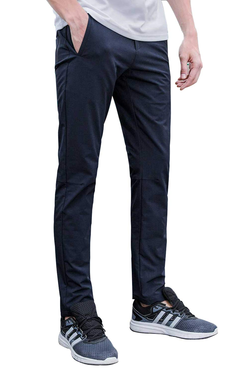 Aoli Ray Men's Spring Summer Slim Fit Stretchy Casual Pants Outdoor Sports Quick-Dry Lightweight Waterproof Trousers … (Dark Blue, 30)