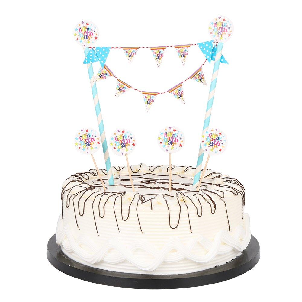 Amazon Happy Birthday Cake Bunting Topper Garland 1 Rainbow Banner Toys Games