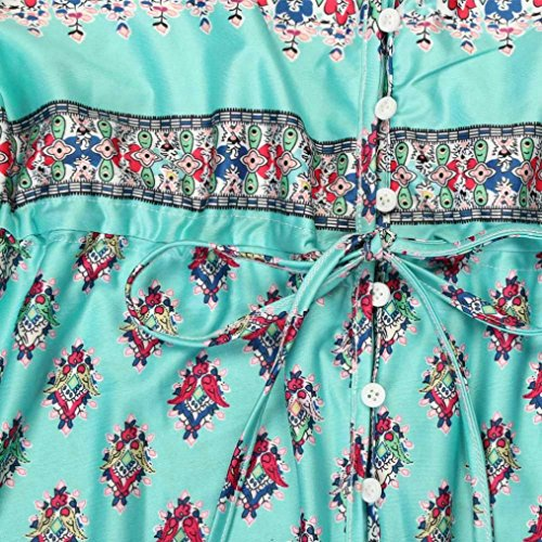 Vestido De Mujer, Xinan Impresión Floral Del Cuello V Del Vestido Maxi Largo Del Verano Vestido De Playa Verde