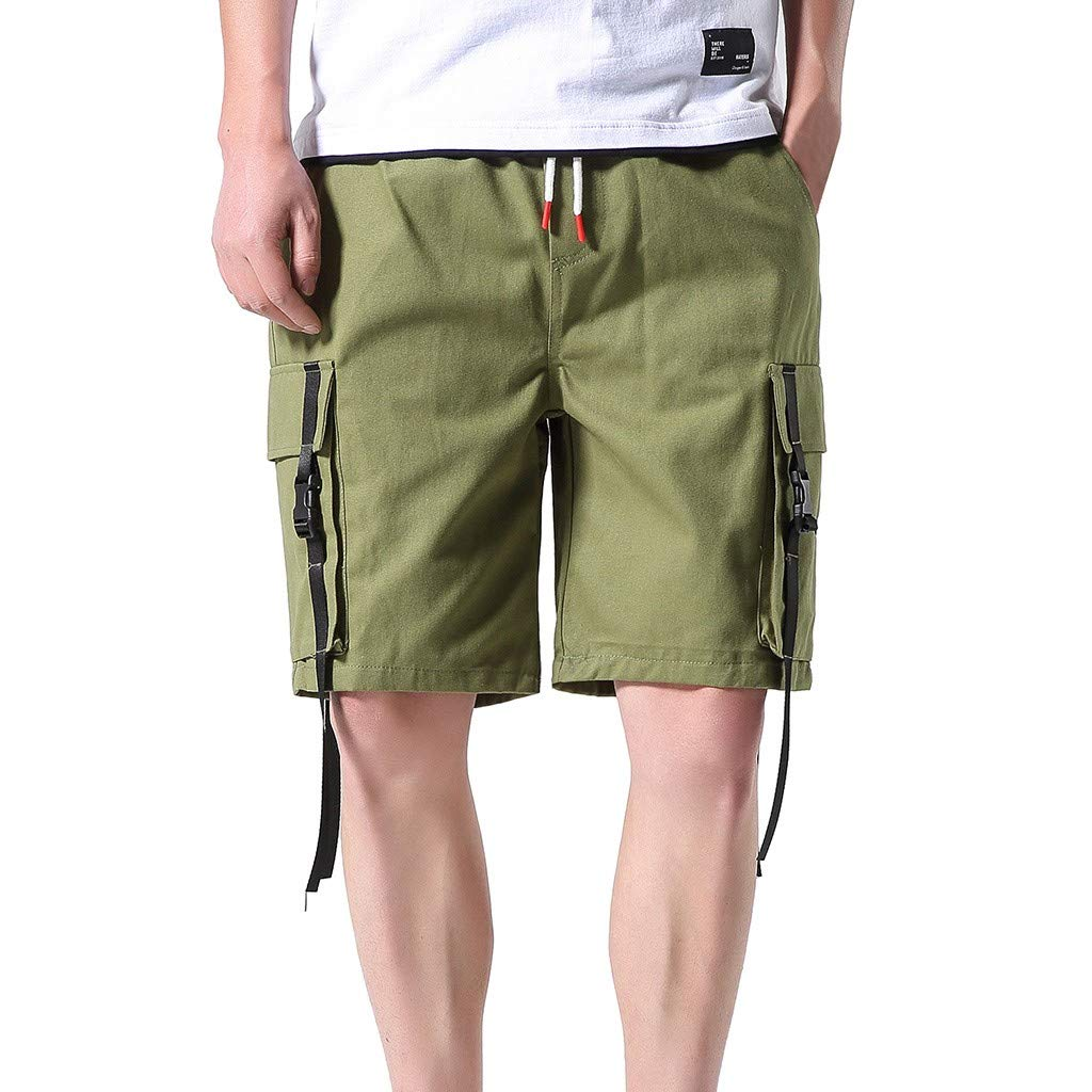 SENDRY Men's Casual Outdoors Pocket Pants Work Trousers Beach Baggy Shorts Pant Army Green