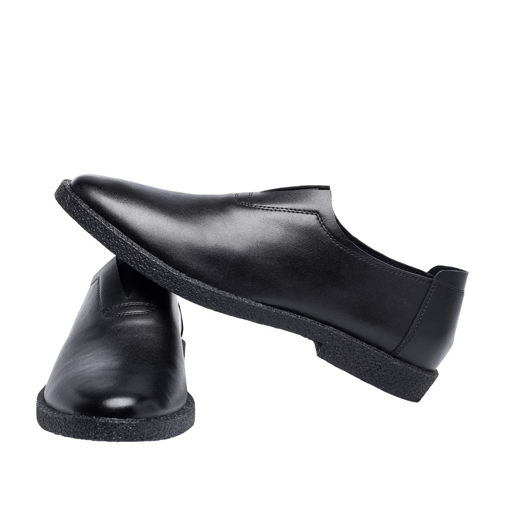 YLY Mens Matte Genuine Leather Shoes Casual Loafers Slip-on Pointed Toe Lined Oxfords Dress Shoes