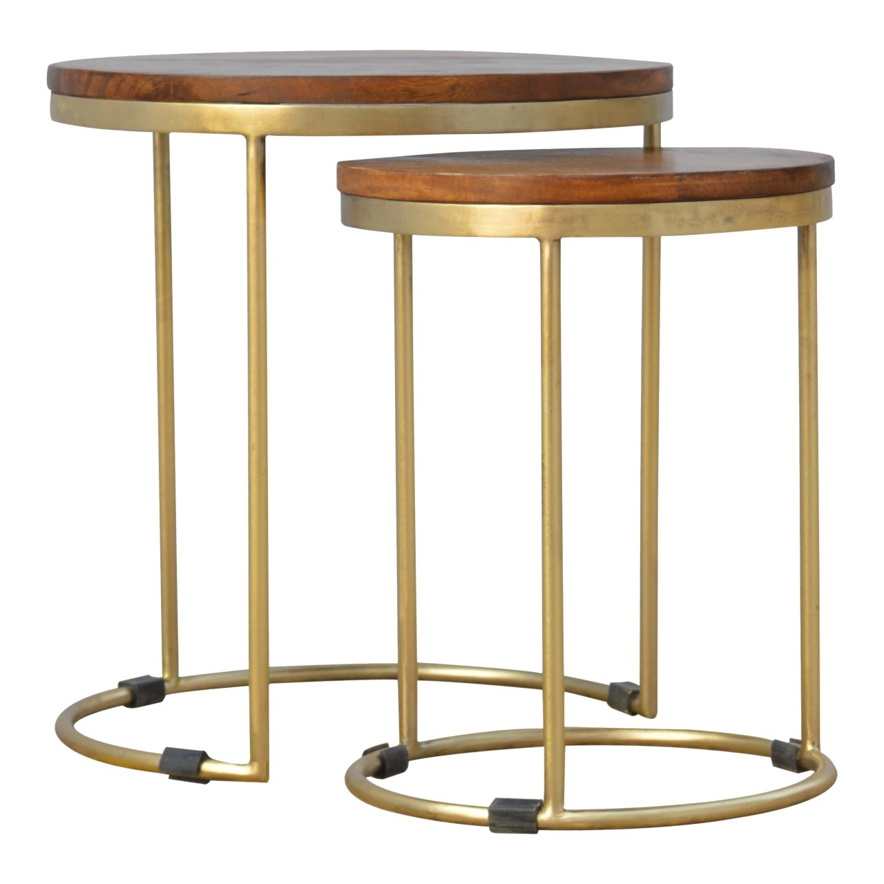 Artisan Furniture Round Stool Set with Base, Wood, Top Chestnut/Gold Touch, 40 x 40 x 45 cm Global Vision Company IN241