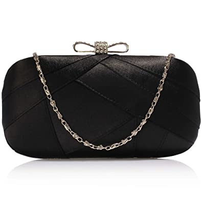 New Women Satin Clutch Bag Bridal Brides Party Ladies Evening Bag UK