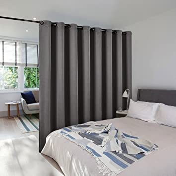 Superb Room Dividers Curtains Screens Partitions   NICETOWN Extra Large Grommet  Top Space Partition Blackout Curtain,