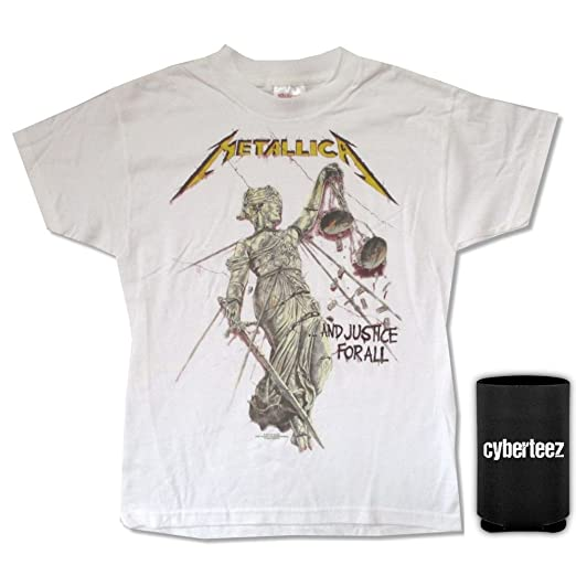 9d350d11 Cyberteez Metallica and Justice for All Youth Kids White T-Shirt + Coolie  (YXL