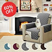 H.VERSAILTEX Pet Friendly Reversible Quilted Furniture Protector Prevent Water Microfiber Soft and Luxurious Slipcovers with Elastic Straps (Recliner: Gray/Beige) - 79'' Width by 68'' Length
