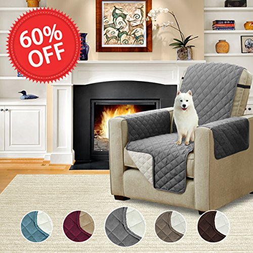 Pet Friendly Reversible Quilted Furniture Protector Prevent Water Microfiber Soft and Luxurious Slipcovers with Elastic Straps (Recliner: Gray/Beige) - 79'' Width by 68'' Length (Furniture Pet Cover)