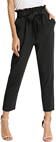 KANCY KOLE Womens Casual Crop Trouser Loose Belted Paper Bag Waist Pants with Pockets