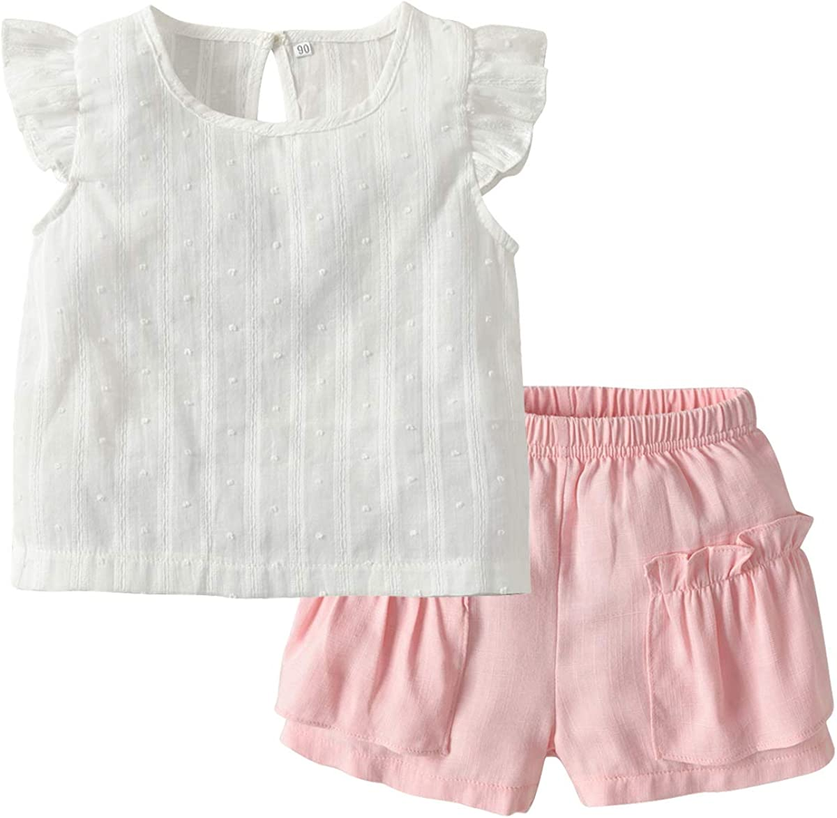 2PCS Set Toddler Kids Baby Girls Outfits Clothes T-Shirt Vest Tops+Shorts Pants