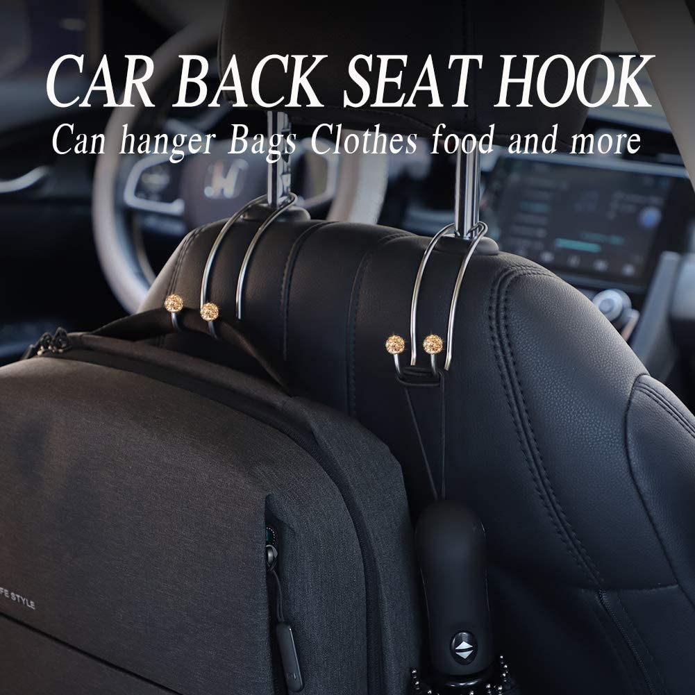 4Pack White SAVORI Auto Hooks Bling Car Hangers Organizer Seat Headrest Hooks Strong and Durable Backseat Hanger Storage Universal for SUV Truck Vehicle