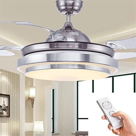 Modern led ceiling lighting with fan automatic retractable invisible abs blades ceiling fan with lamp chandeliers