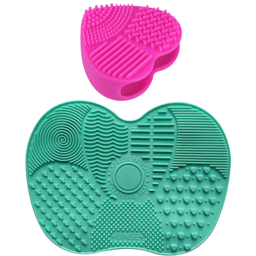 2 Pack Silicone Makeup Brush Cleaning Mat,Professional Travel Makeup Brush Cleaner with Suction Cup Instantly Removes Makeup Colors Keep Cosmetic Brushes Clean & Dry