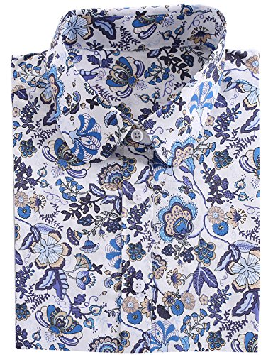 DOKKIA Women's Tops Tropical Casual Blouses Long Sleeve Work Button Up Dress Beach Aloha Hawaiian Shirts (Small, Blue White Butterfly)
