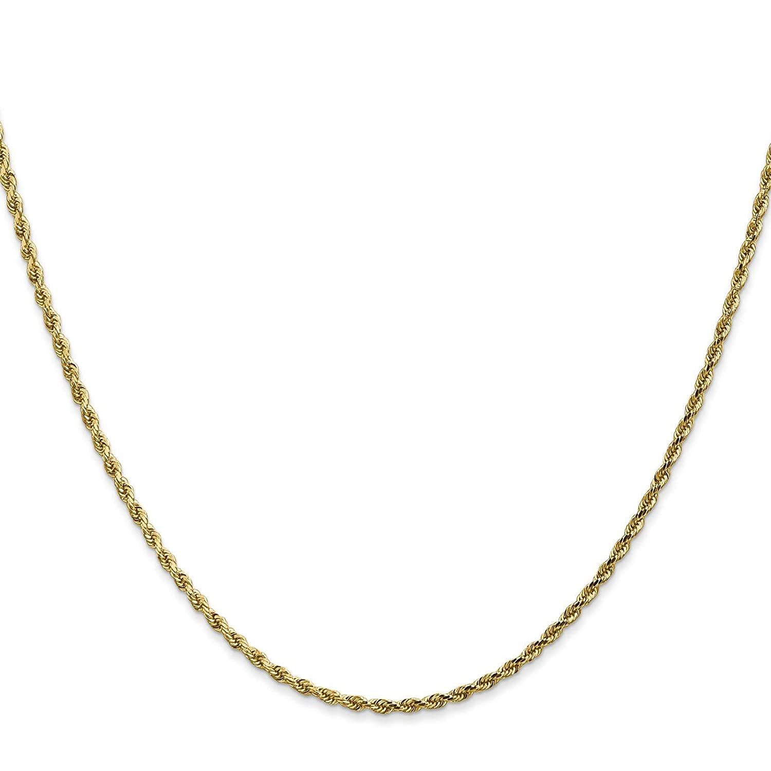 14k Yellow Gold 1.5mm Polished /& Diamond-cut Rope Chain Necklace Bracelet Anklet 6-36