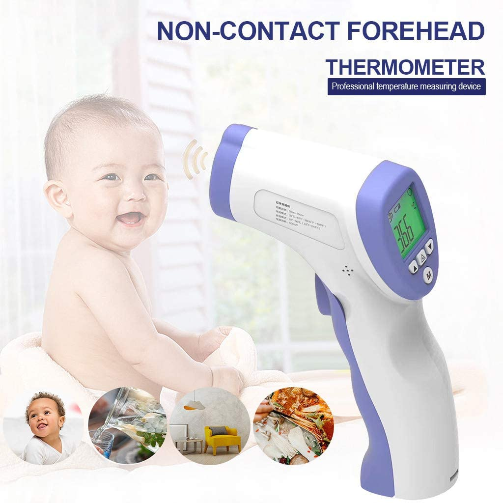CMrtew LCD Non-Contact Digital Infrared Temperature for Baby Kids Adults White-A Infrared Digital Tʜermometer with Fever Indicator Accurate Fast Readings