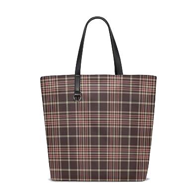 4a1c06ab0d Women Shoulder Bag Coffee Lines Plaid Checks Purse Shopper Tote ...