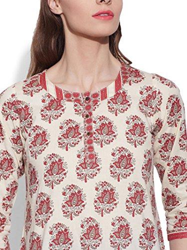 4 Elle Cadeau Indien Womens Kurti 3 Courtes Ethnique Kurta KOKOM Blanc Tunique Blouse Manches pour BztnO