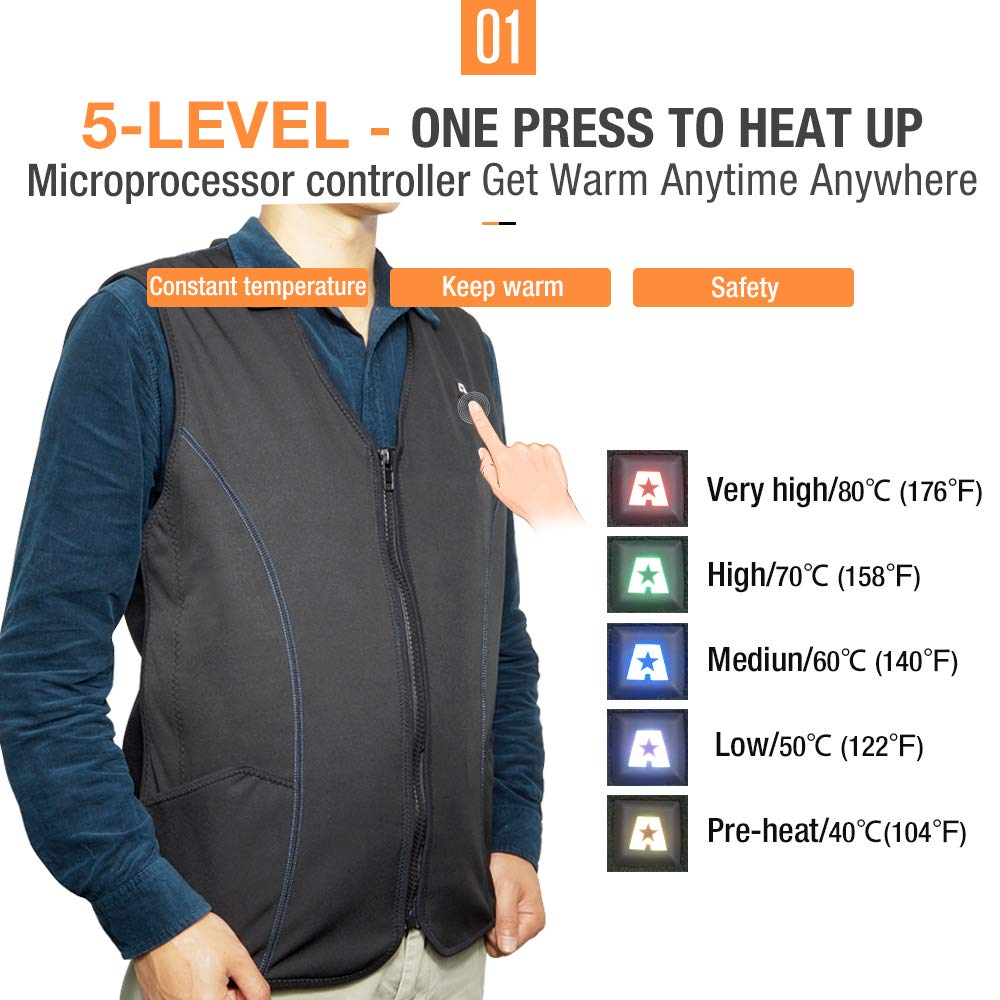 ARRIS Heated Vest Size Adjustable Heating Vest for Outdoor Motorcycling Fishing Black