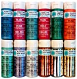 Martha Stewart Crafts Multi-Surface Satin Acrylic Craft Paint Set (2-Ounce), PROMO769 Metallic and Pearl (12-Piece)