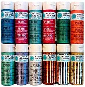Martha Stewart Crafts Multi-Surface Satin Acrylic Craft Paint Set (2-Ounce), PROMO769 Metallic and Pearl (12-Piece)