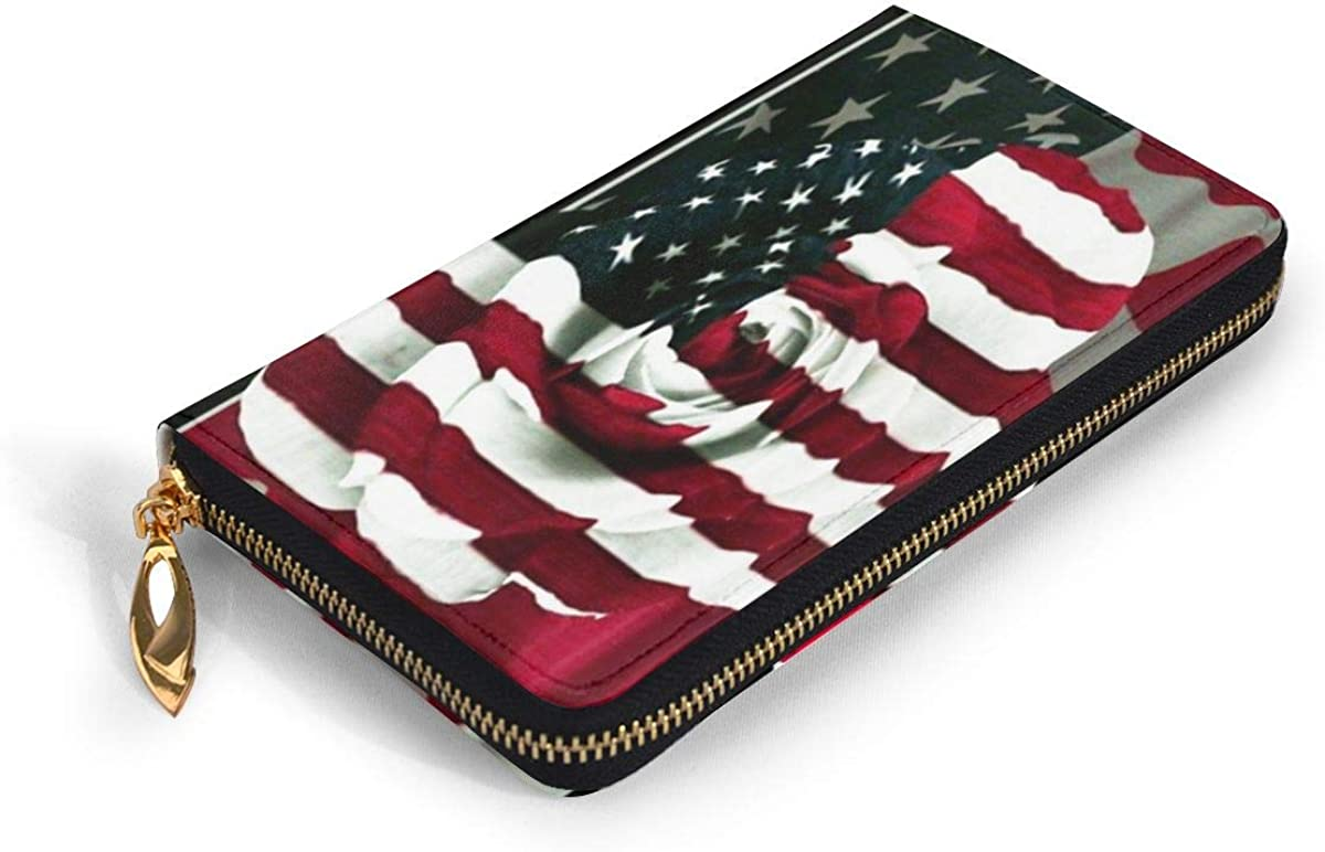 American Flag Rose Leather Clutch Waterproof Card Holder With Zipper Large Capacity Wristlet Wallet Durable Envelope Clutch Portable Purse Daily Using