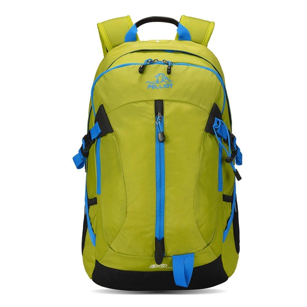 アウトドア登山通気性バックパック、耐摩耗性ナイロン多目的ハイキングスポーツユニセックスリュックサック、30l大容量ダブルショルダーナップサック(グリーン)   B0792Y6BBR