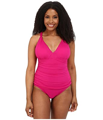 38591eda8a LAUREN Ralph Lauren Women s Plus Size Beach Club Solids Solid Over the  Shoulder Loop Mio One-Piece Hothouse Pink Swimsuit at Amazon Women s  Clothing store