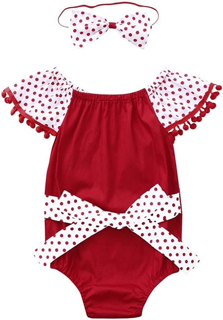 Baby Girls Dot Dress Toddler Infant Tassel Jumpsuit Romper+Headband Clothes Set