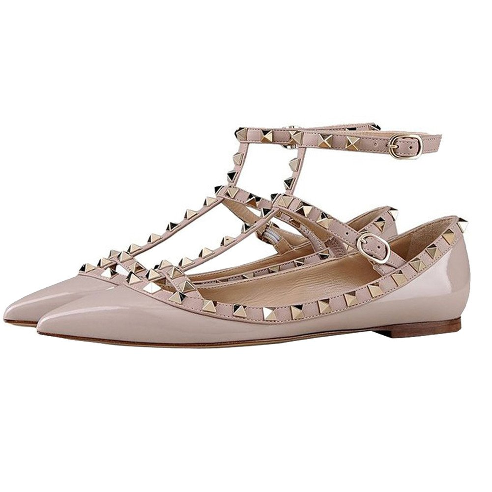 VOCOSI Pointed Women's Ankle Strap Studded Pointed VOCOSI Toe Pumps Rivets T-Strap Flat Pumps Dress B0794WMF65 6 B(M) US|Apricot(manmade Patent Leather With Gold Rivets) fed0e3