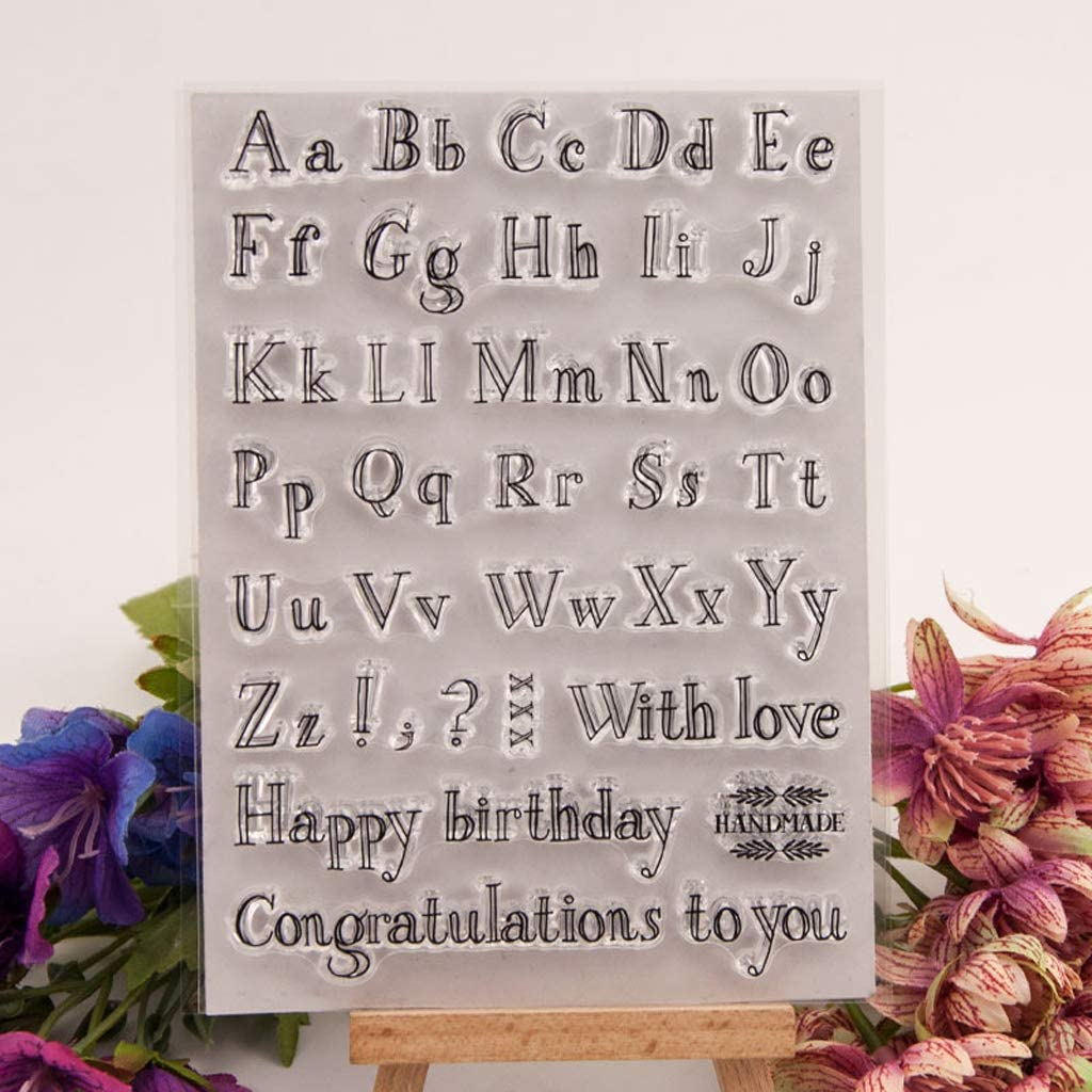 LANDUM Clear Stamp Transparent Stamp Silicone Stamp DIY Scrapbooking Embossing Paper Cards Home Decor Happy Birthday