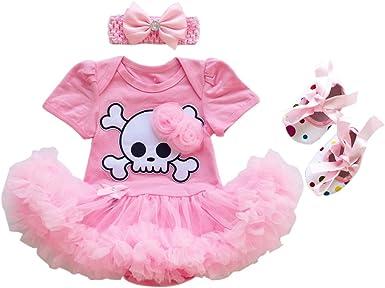 Baby Girl Pirate Skull Romper Tutu Dress Headband Outfits 0-3 3-6 6-12 Months