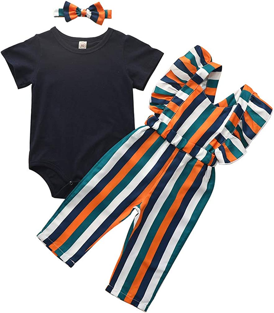 Newborn Baby Girls Solid Romper Tops+Striped Suspender Pants Overalls+Headband Outfit