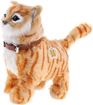 non-brand Juguete Electrónico de Felpa Forma Gato Caminando Miau Juguete para Niños - Amarillo: Amazon.es: Juguetes y juegos