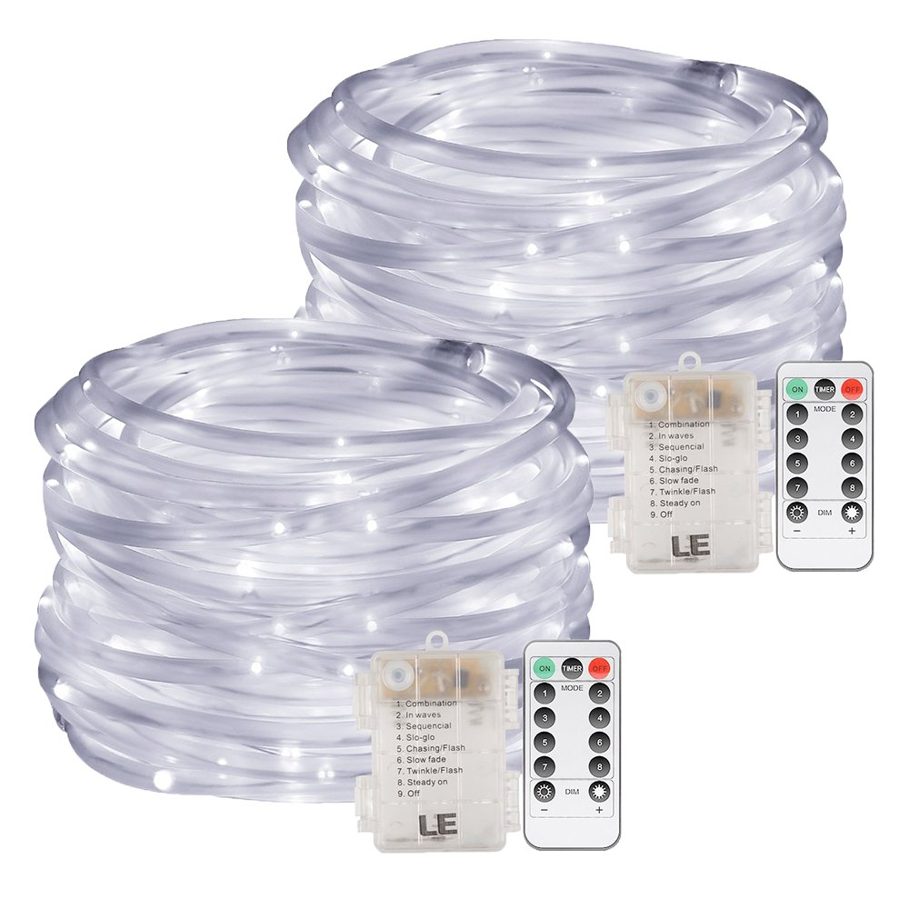 LE Cavo Tubo luminoso RGB 10m a Batterie, 120 LED, 8 Modalità Multicolore Semi-Impermeabile IP44 Catena luminosa Telecomando incluso per Balcone Giardino Interni Natale Capodanno Compleanno [Classe di efficienza energetica A+] Lighting EVER