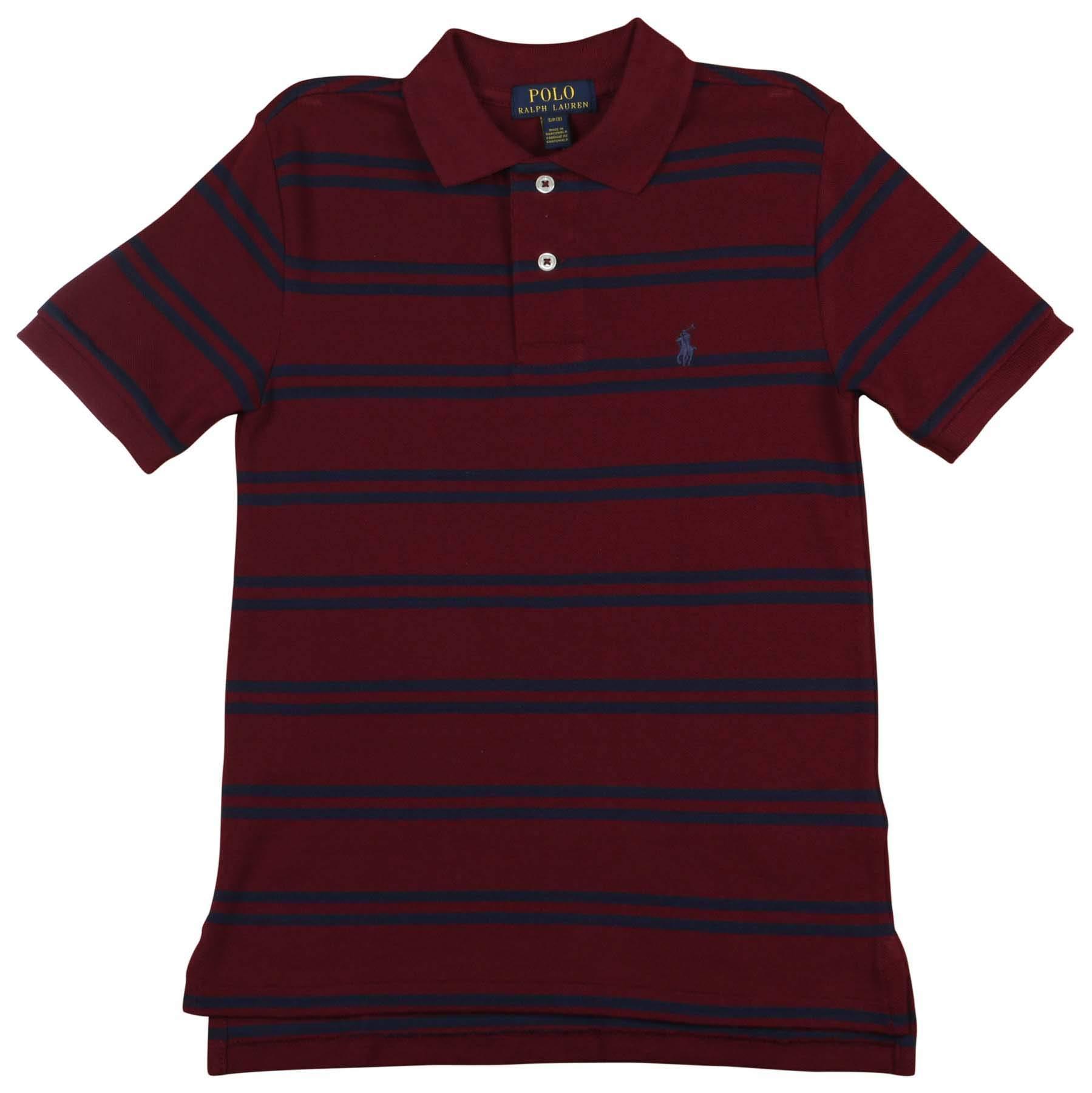 Polo RL Big Boy's (8-20) Striped Mesh Polo Shirt (Large (14-16), Red/Navy)
