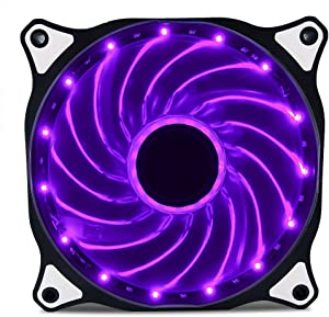 Vetroo 120mm Purple 15-LEDs Cooling Fan for Computer PC Cases, CPU Coolers and Radiators