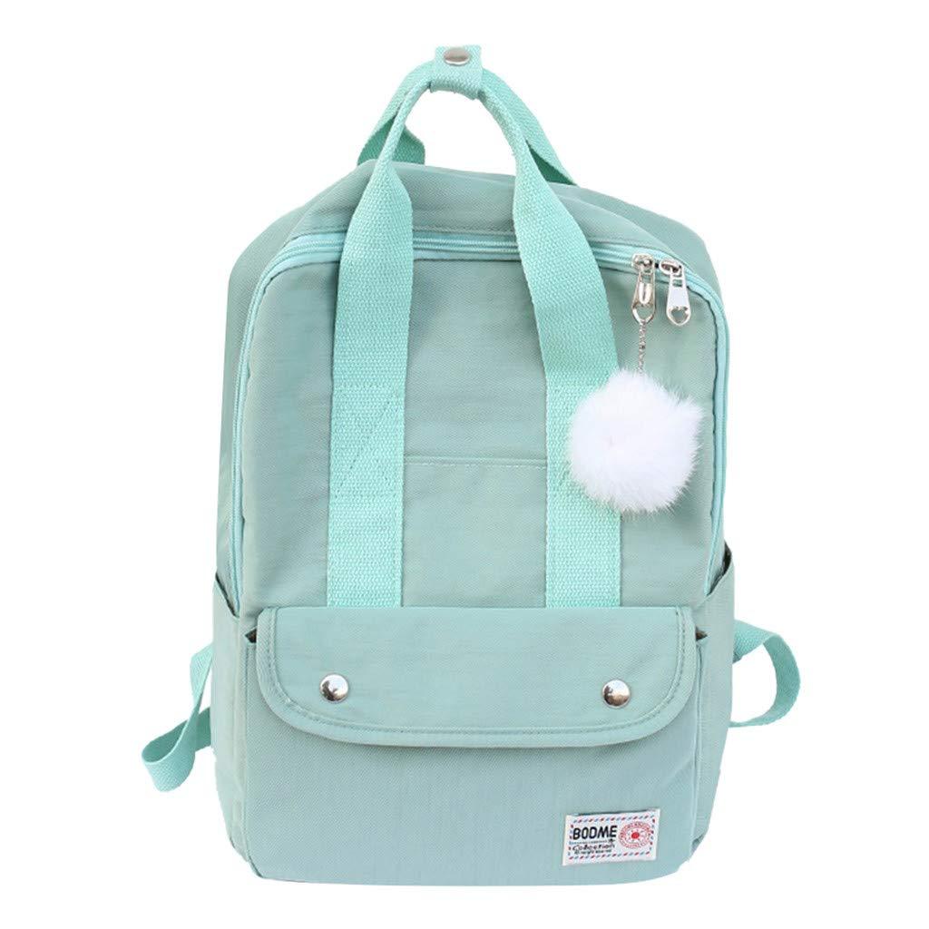 Xlala Mens Womens Nylon Backpack Casual Zipper Waterproof Large Capacity Solid Color Schoolbag Single Shoulder Bags Laptop Packages Travel Packs Handbags (Green) by Xlala