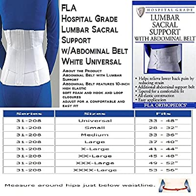 "FLA 10"" Lumbar Sacral Back Support with Abdominal Belt #31208 - Universal White"