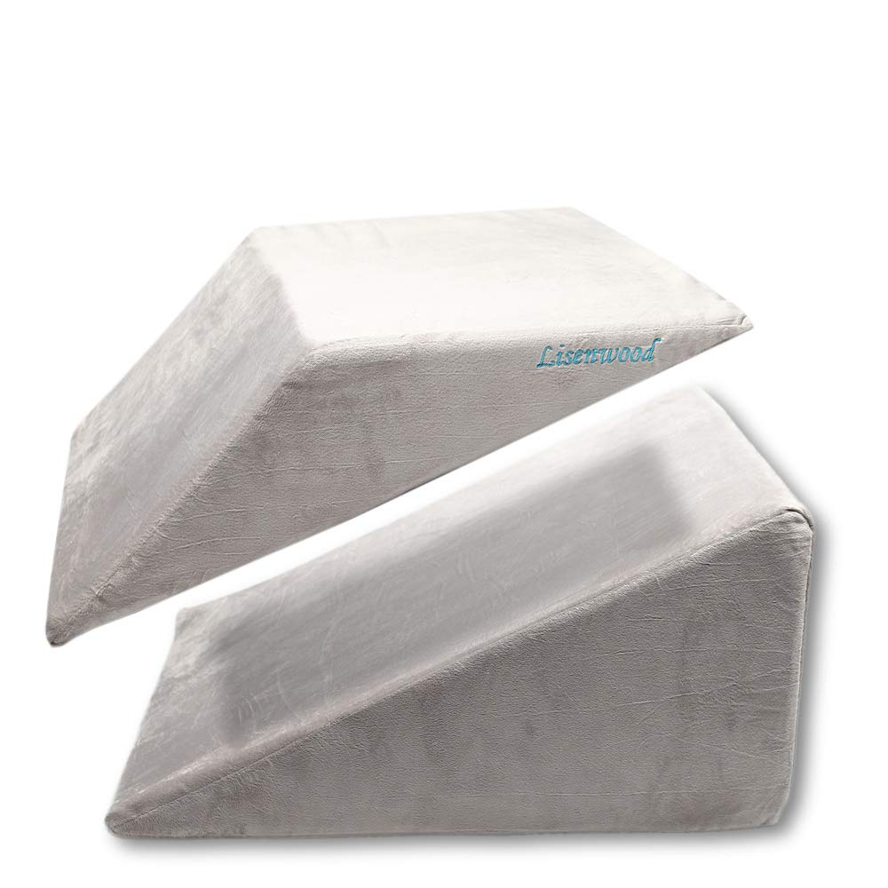 Lisenwood Foam Bed Wedge Pillow Set - Reading Pillow & Back Support Wedge Pillow for Sleeping - 2 Seperated Sit Up Pillows for Bed - Angled Bed Pillow, Triangle Pillow for Back and Legs Support by Lisenwood