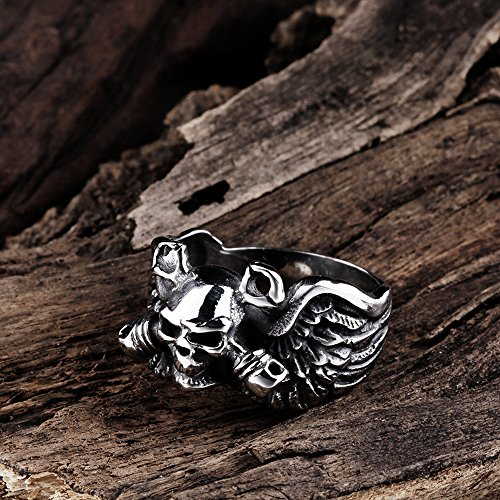 BLOOMCHARM Skull Rings for Men Boys Jewelry Punk Head Stainless Steel Bands Gifts Presents by BLOOMCHARM (Image #5)