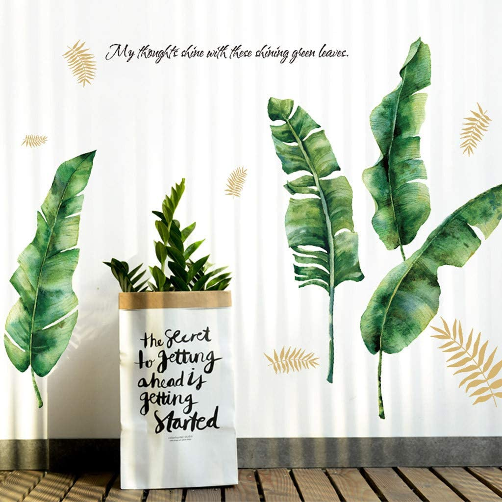 Riforla Green Tropical Leaves Wall Decal Nature Palm Tree Leaf Plants Wall Sticker Art Murals for Kids Room Living Room Nursery Classroom Offices Home Decoration
